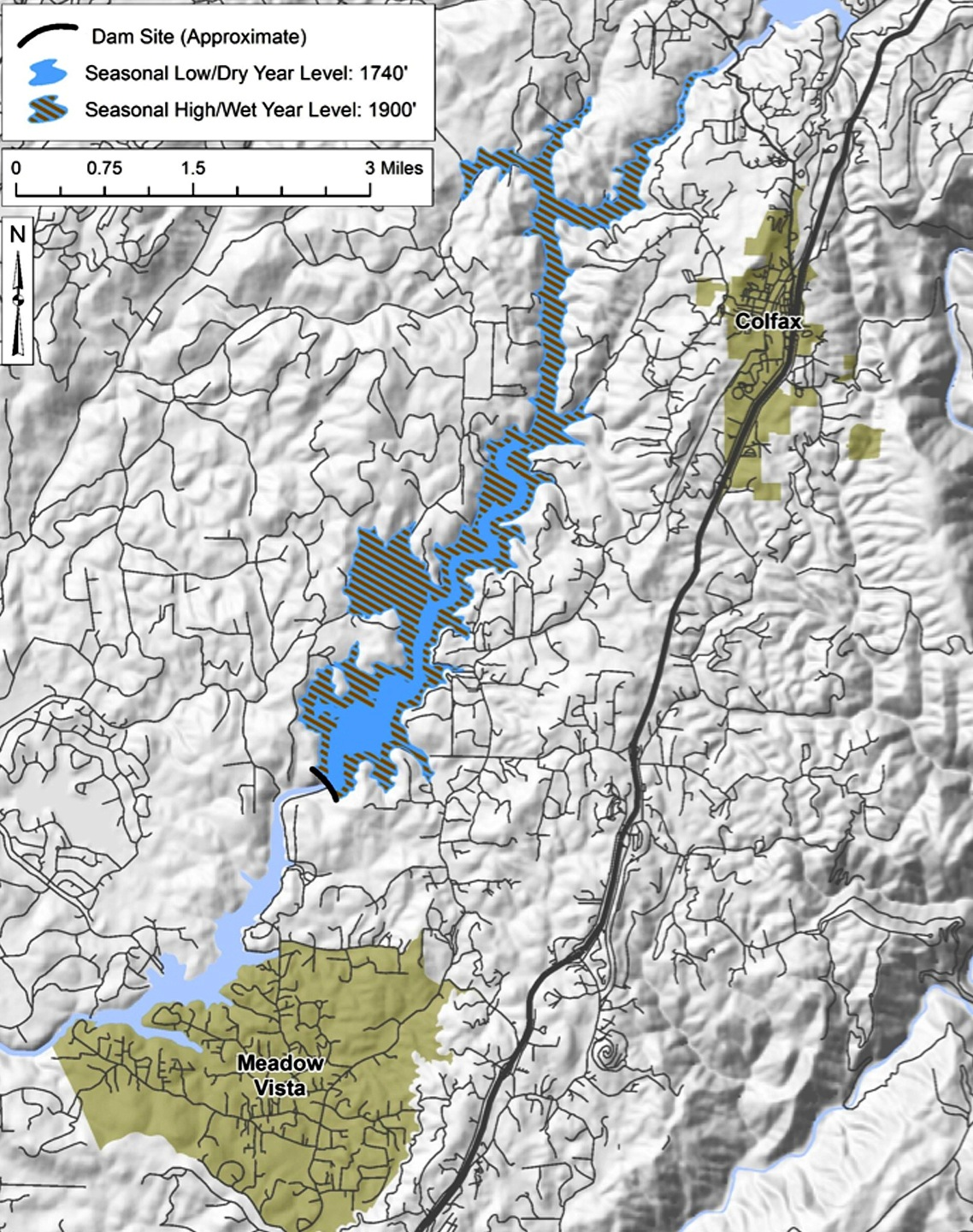 A map of the proposed Centennial Reservoir site near Meadow Vista, Calif.