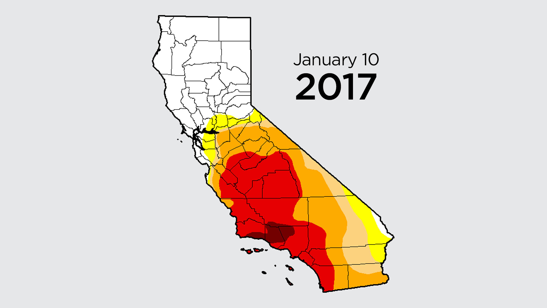 """The U.S. Drought Monitor's weekly analysis, released on Thursday, shows only 2 percent of the state remains in the most extreme category, """"exceptional drought,"""" down from nearly 43 percent a year ago."""