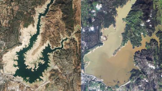 Folsom Lake On Oct. 26, 2015. Right: Folsom Lake On Jan. 14, 2017. (Images  Provided By Planet Labs)