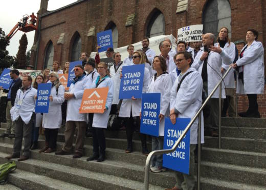 Scientists rally outside the American Geophysical Union's fall meeting in San Francisco.