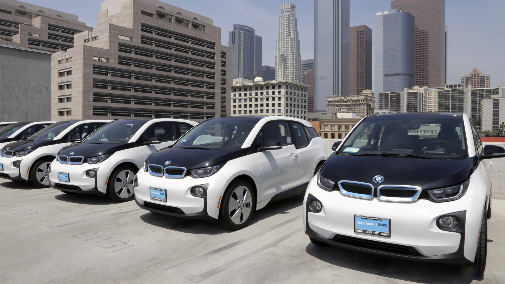 Electric cars are parked at the Los Angeles Police Department in 2016.