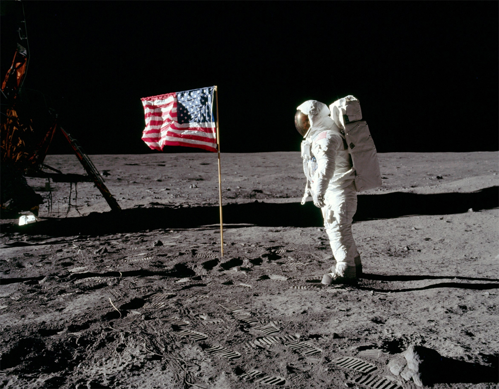 NASA astronaut Buzz Aldrin during the historic Apollo 11 mission, which first landed men on the moon in 1969.