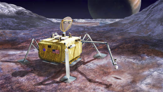 Artist concept for a possible NASA Europa lander, currently in early stages of conceptualization.