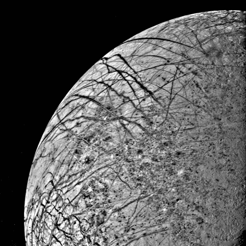 One of the first detailed pictures of Europa and its cracked, icy surface, taken by Voyager 2 in 1979.