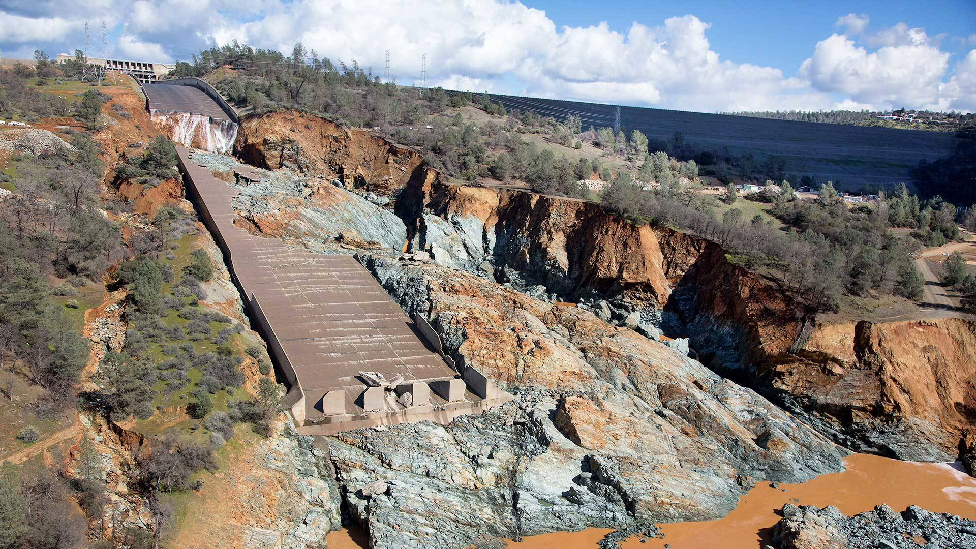 The damaged concrete main spillway at Oroville Dam. CA Department of Water Resources