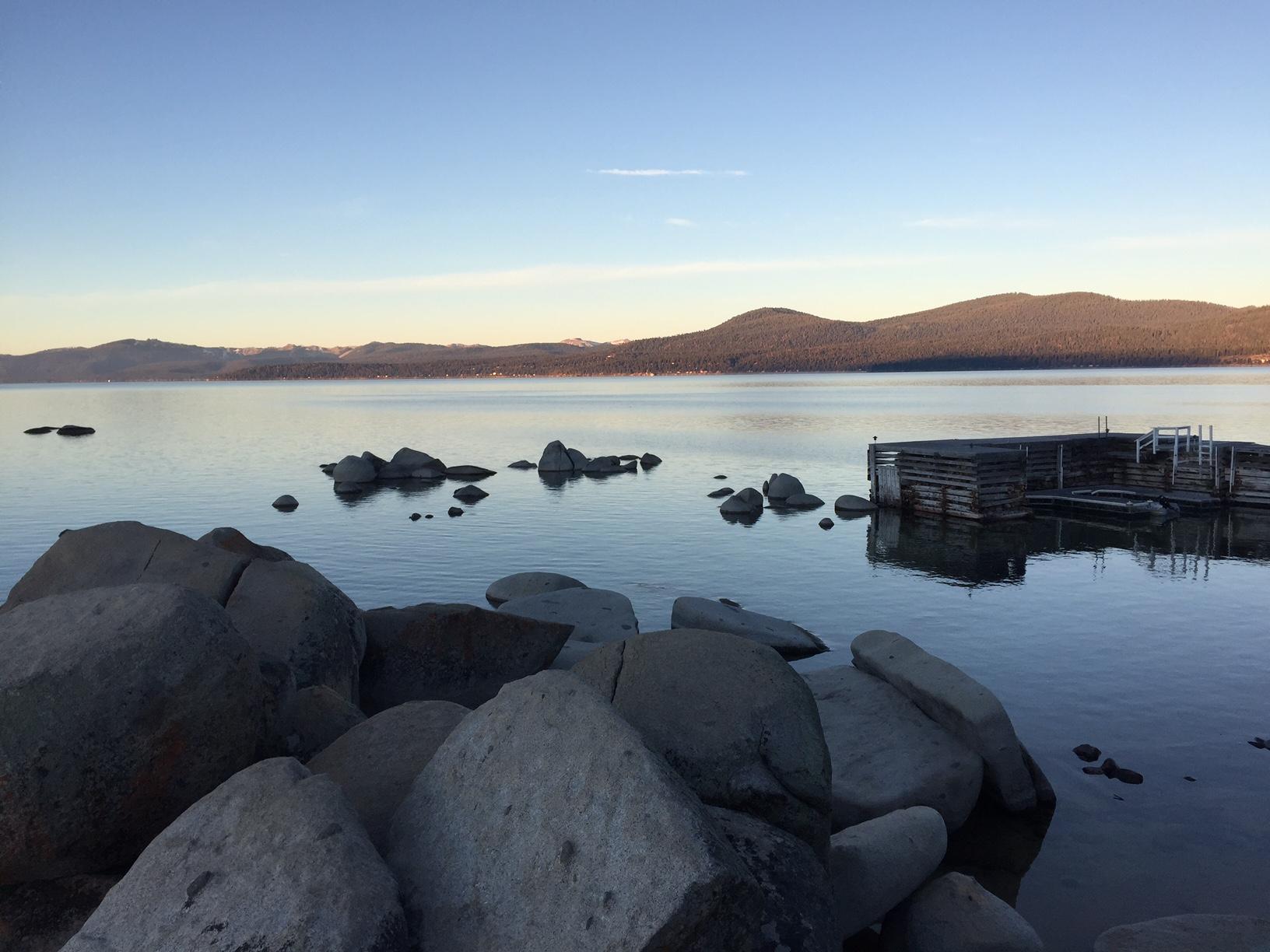 Lake Tahoe just before sunrise.