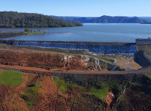 Oroville's emergency spillway as the lake level topped it in February.