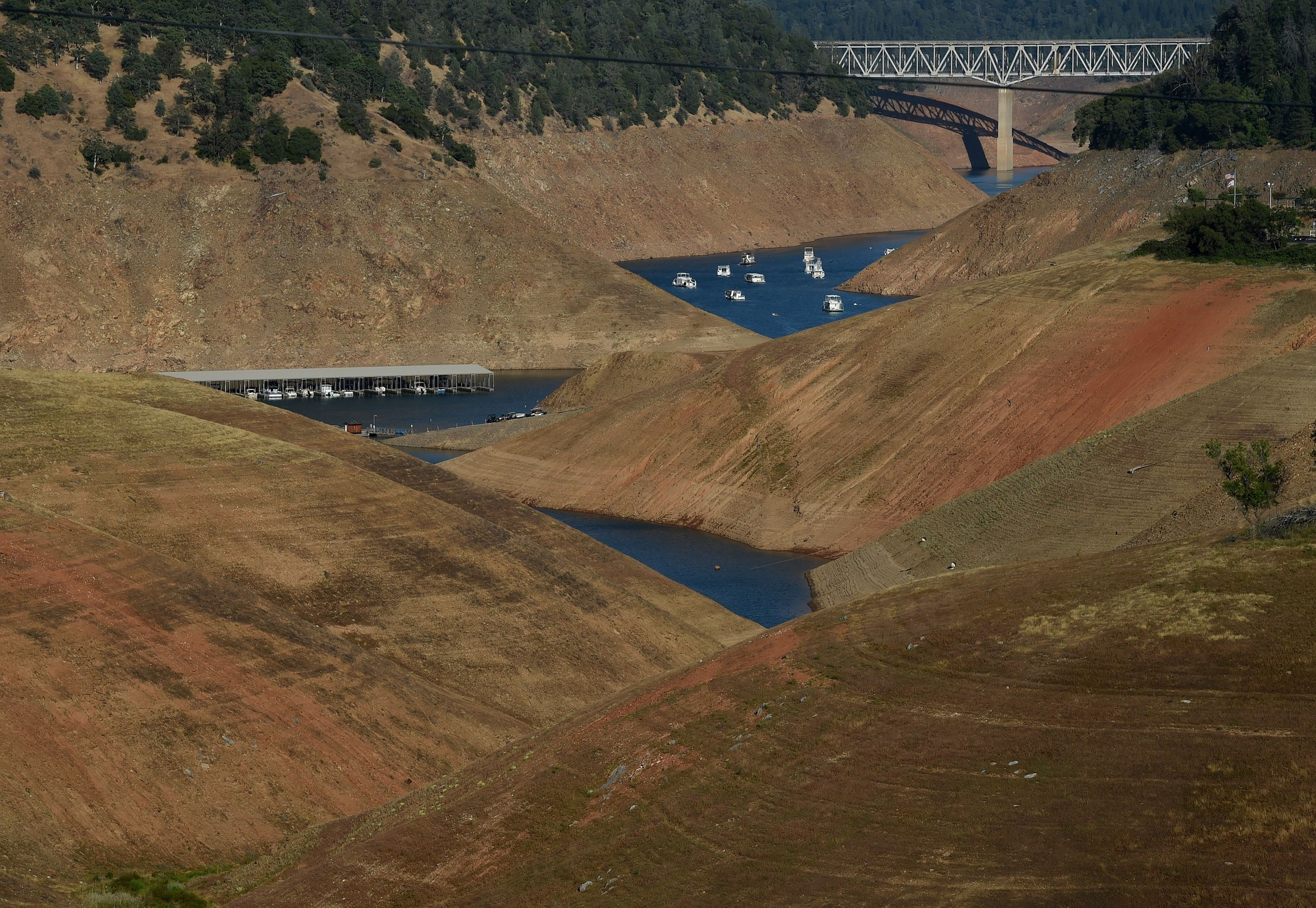 Lake Oroville, reduced to a relative puddle in 2015. This year it overflowed. Reservoir levels are one of more than 100 indicators considered by the U.S. Drought Monitor.