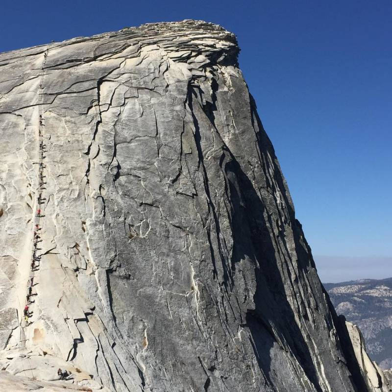 "From @girlseestheworld, via Instagram. '""All glory comes from daring to begin."" -Ruskin Bond Before reaching the cables on Half Dome, there's a steep climb up sub dome with many switchbacks. At the top of the sub dome, I was already tired and breathless. The views were amazing. To reach the top of Half Dome, there's another 800 feet of rock waiting for you.'"