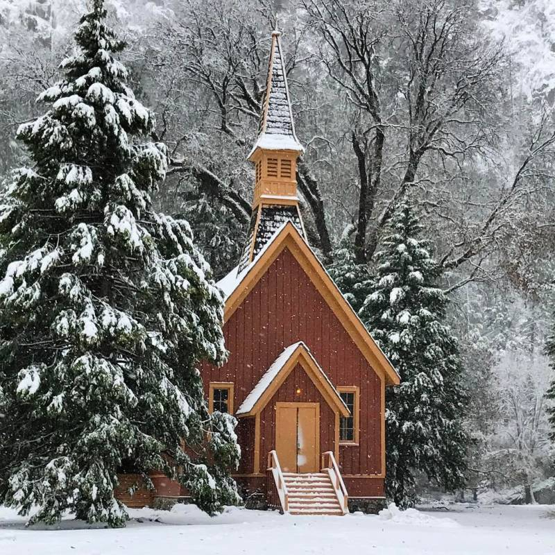 "From @jimgoldstein, via Instagram. ""Yosemite Chapel in the Snow"""