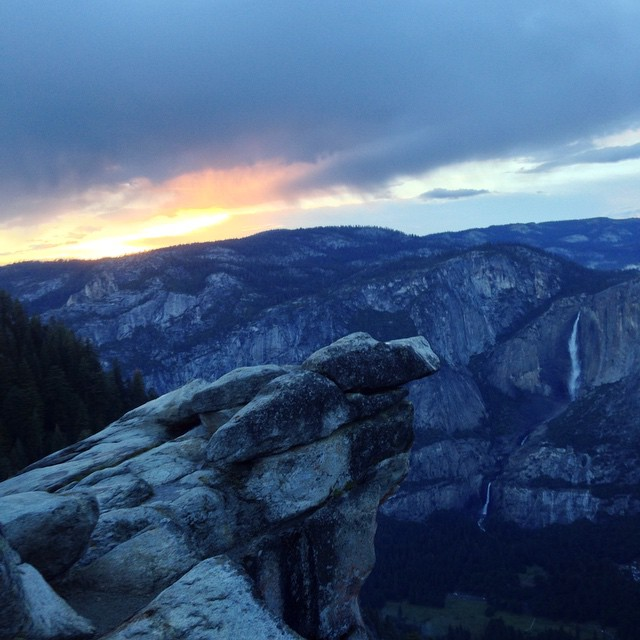 "From @na1ashaa, via Instagram. ""After a weekend of thunderstorms and hail it was beautiful to see this sunset at Glacier Point last night. You can see Nevada Falls in the right corner too."""