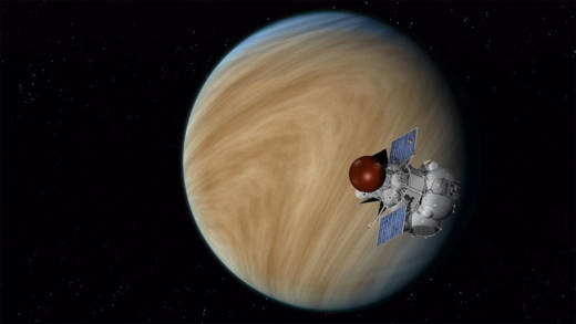 Artist concept of the Russian Venera-D spacecraft, to be launched in 2025 on a mission to explore Earth's neighbor, Venus.