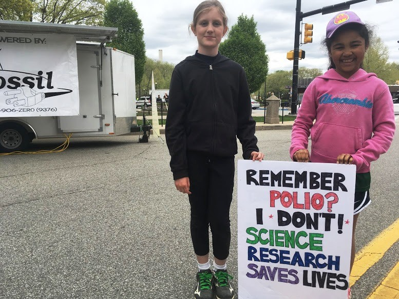 Mary Connell (left), 9, and Mia Coriolan, 9, at the March for Science in Pittsburgh, Pennsylvania.