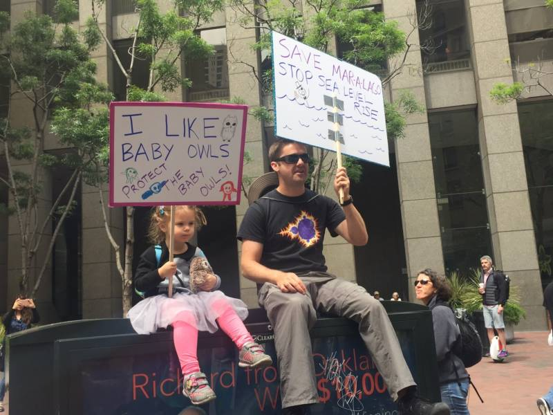 James Balkite and his daughter Parker at the San Francisco March for Science.