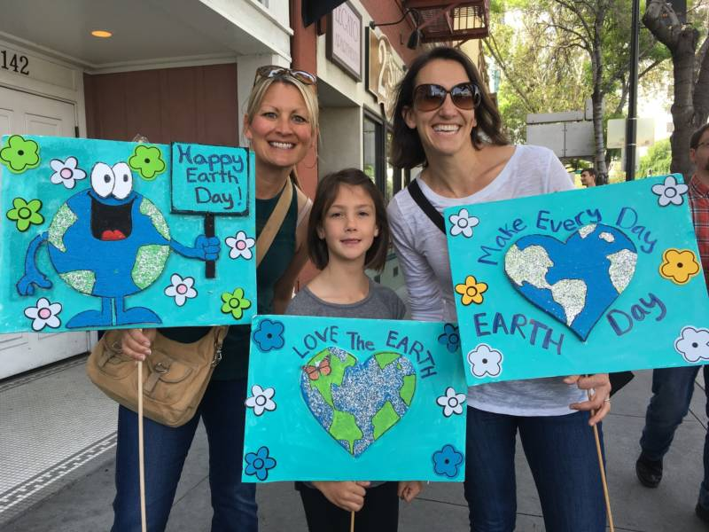 Christina Nosek (left), Chloe Coponen (center) and Marie Legrand at the March for Science in San Jose. Nosek and Legrand teach in Palo Alto and Coponen is a 2nd grader in Palo Alto.