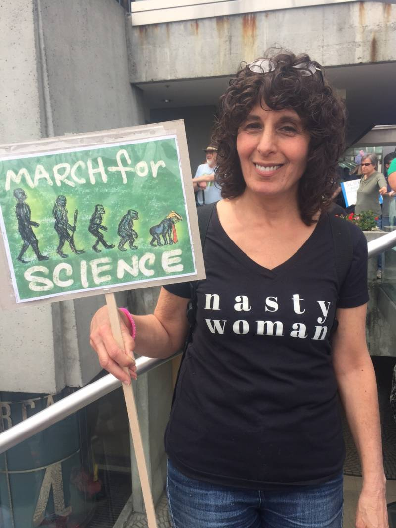 Cancer survivor Lori Mandell at the San Francisco March for Science.