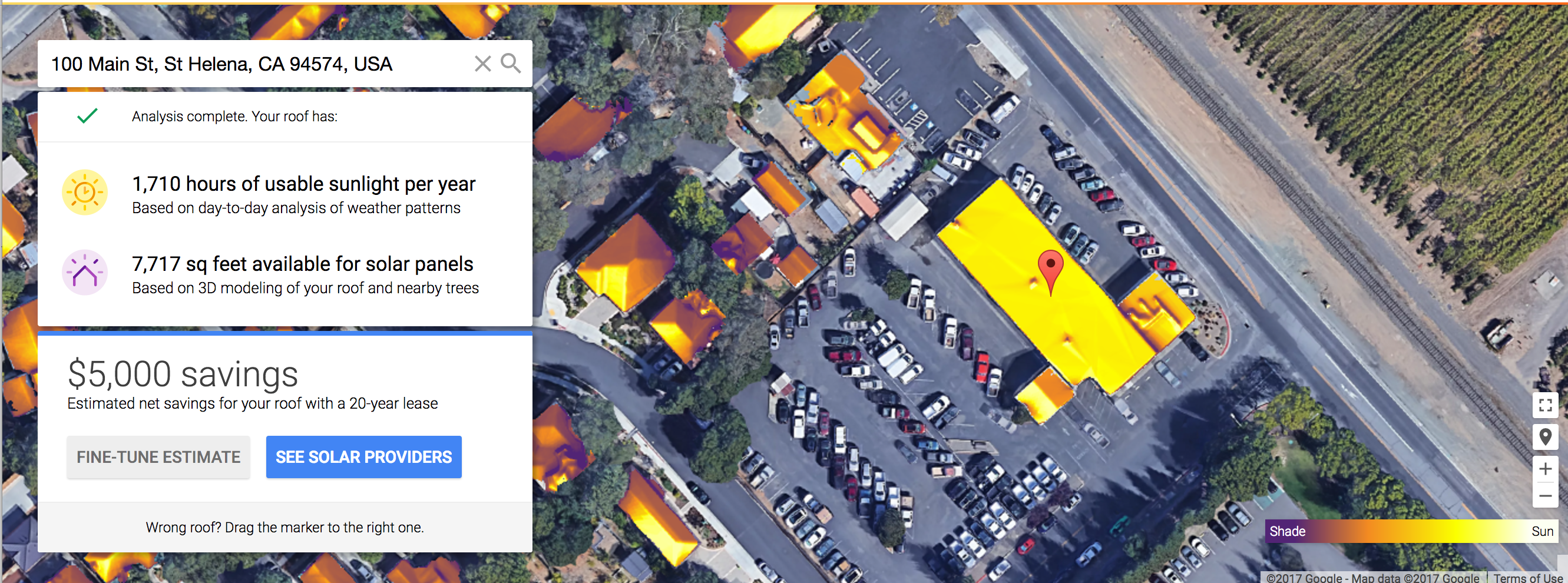 An screenshot from Project Sunroof, which estimates the solar potential on individual roofs.