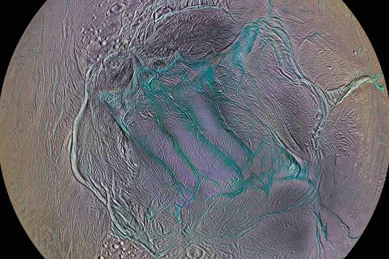 "Long, deep crevasses at Enceladus' southern polar region--dubbed ""Tiger Stripes""--are the site where water vapor plumes erupt through the moon's icy crust."