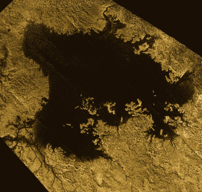 Ligiea Mare, one of Titan's liquid methane seas.