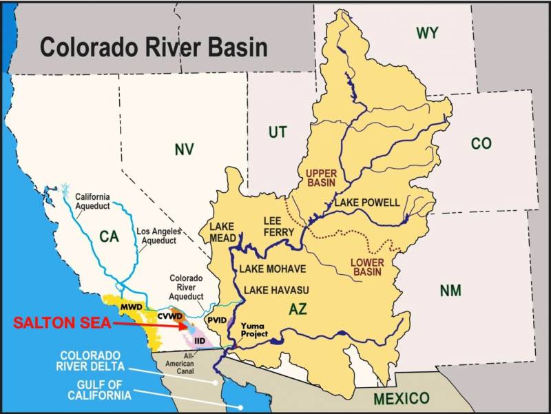 A map shows the location of the Salton Sea and the Colorado River Basin.