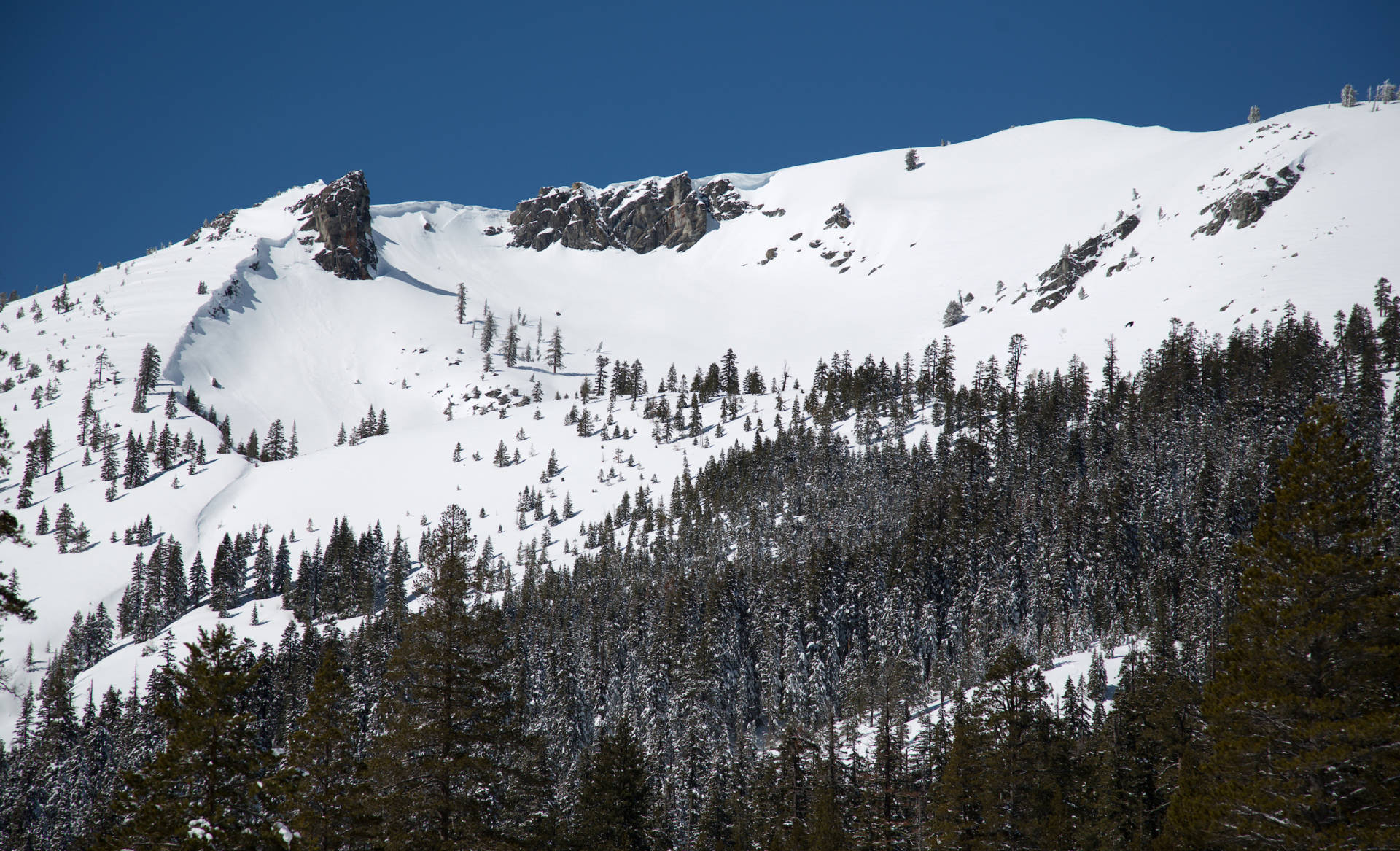 A snow-covered Sierra Nevada mountain peak to the northwest from the Phillips Station.   Dale Kolke/California Department of Water Resources