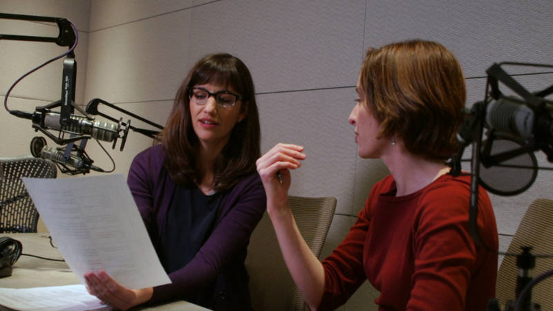 Lauren Sommer goes over narration with producer Gabriela Quirós.