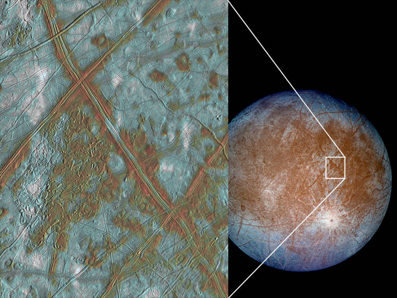 Fractures and lines in Europa's icy surface, one of the first pieces of evidence for the existence of the moon's ocean hidden beneath.