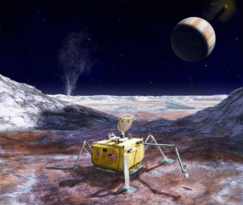 Artist concept of a possible future landing mission to the surface of Jupiter's ocean-bearing moon, Europa.