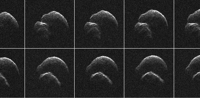 Radar images of the asteroid 2014 JO25, captured by the Goldstone Observatory radio telescope last April when the 0.8-mile-long object passed by at a distance a little over a million miles.