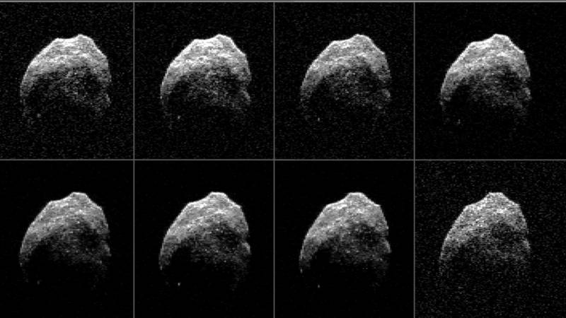 Radar images of Asteroid 2015 TB145 during a close flyby of Earth in October 2015.