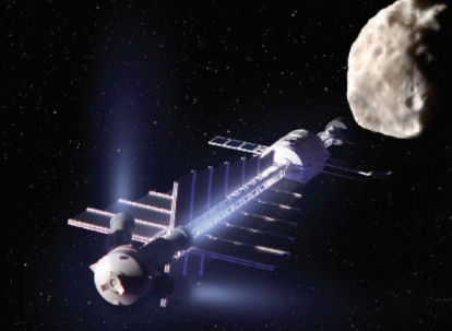 "Artist concept of a ""gravity tractor"" robotic spacecraft, a concept for gradually altering an asteroid's orbital trajectory through the gentle, but constant gravitational attraction between the object and the spacecraft."