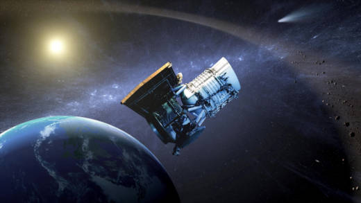 "Artist concept of NASA's Wide-field Infrared Survey Explorer (WISE) spacecraft, reborn in 2013 as ""NEOWISE"" on a mission to discover and study Near Earth Objects."