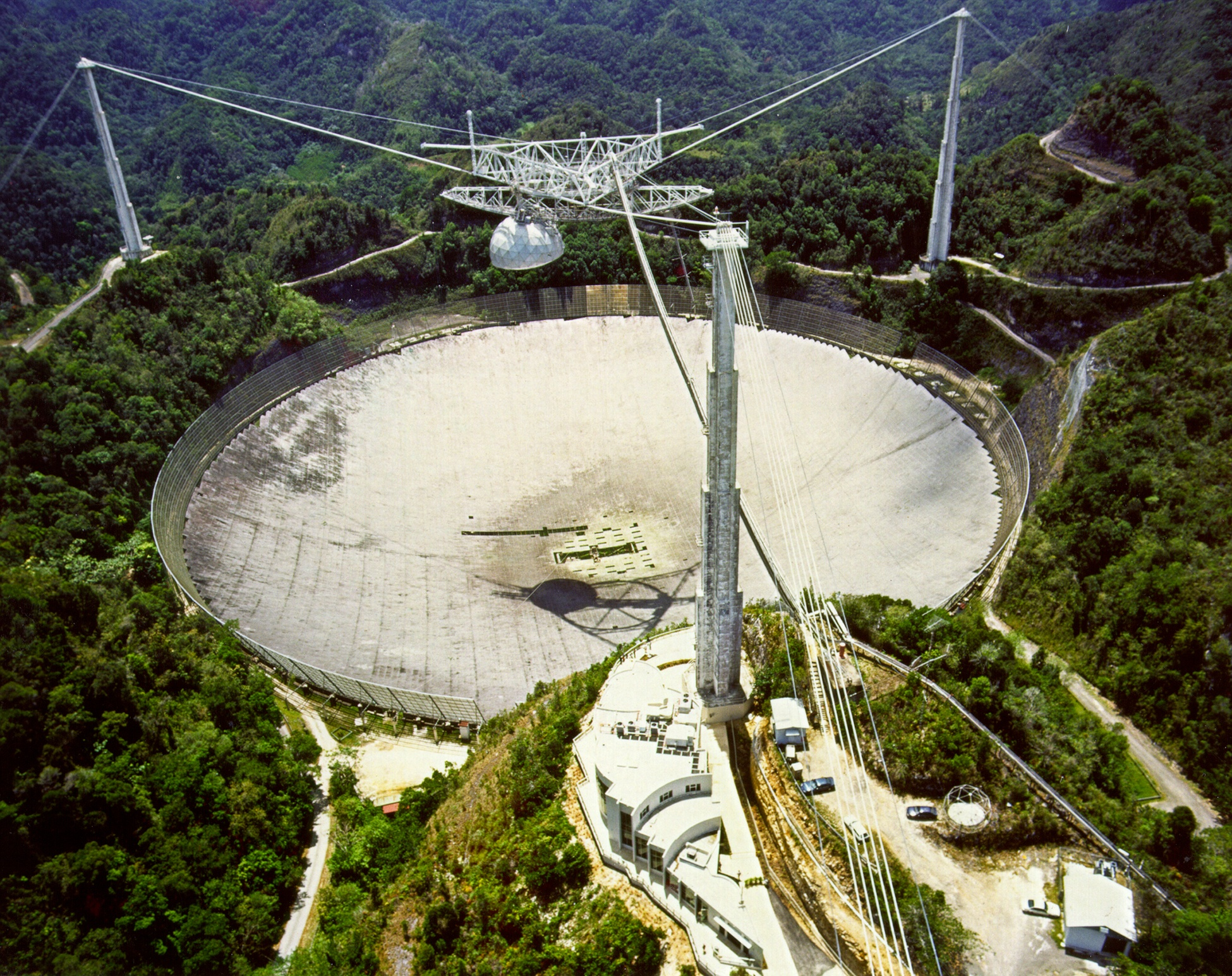 The 1,000-foot-diameter radio telescope at Arecibo, Puerto Rico.
