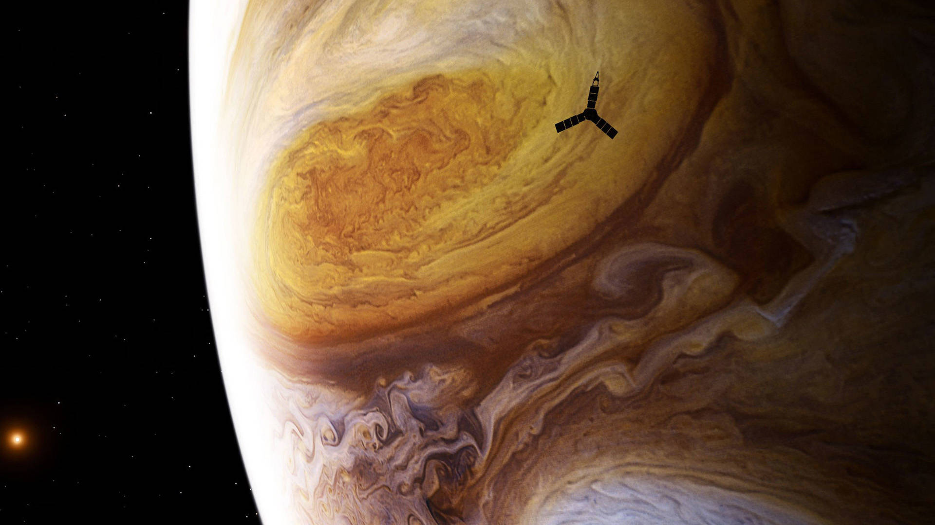 Depiction of NASA's Juno spacecraft during its close encounter with Jupiter's famous Great Red Spot.