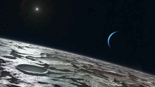 Artist impression of how Triton, Neptune's largest moon, might look from high above its surface. The distant Sun appears at the upper-left and the blue crescent of Neptune right of center.
