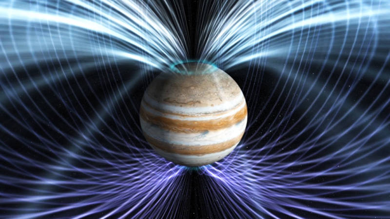 Illustration of Jupiter's powerful magnetic field, which the Juno mission has discovered may be 50-80% stronger than predicted.