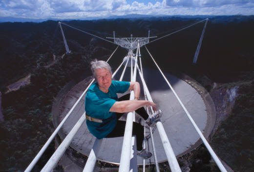 Jill Tarter suspended above the radio telescope at Arecibo, Puerto Rico. Tarter was a key figure in the founding of the SETI (Search for Extraterrestrial Intelligence) project.