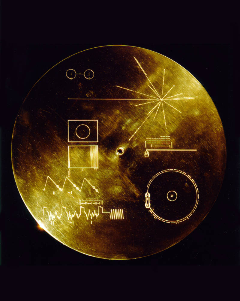 "The cover of the Voyagers' ""Golden Record"" archive of Earth sounds and images, carried on each spacecraft as a greeting to possible alien civilizations."