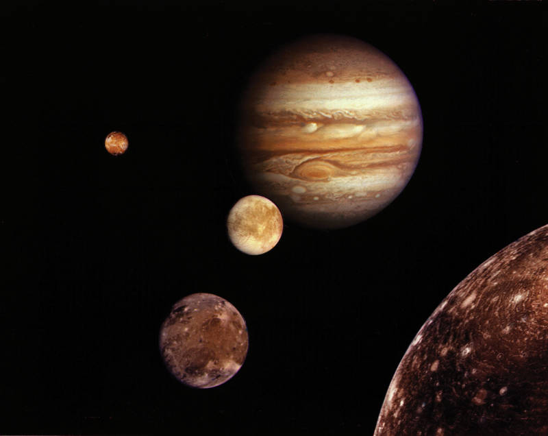 A montage of Jupiter and its four Galilean moons captured by Voyager 1 in 1979.