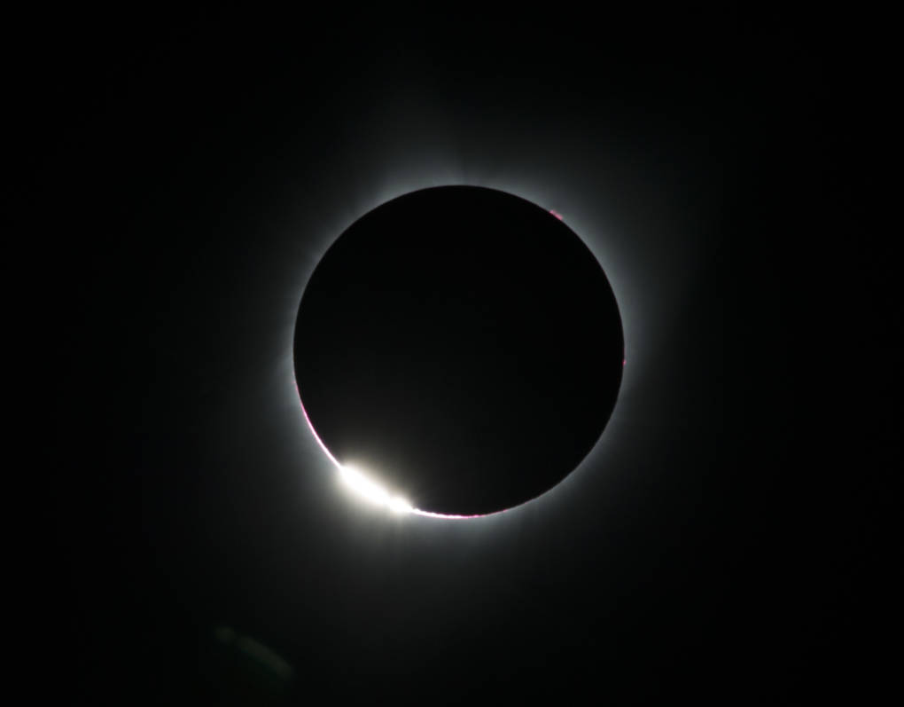 The 'diamond ring effect' is seen during a total solar eclipse as seen from the Lowell Observatory Solar Eclipse Experience in Madras, Oregon.
