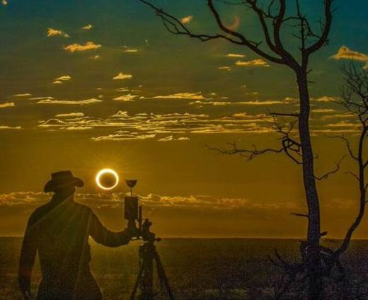 Mark Bender at an annular eclipse in western Australia on May 10, 2013. An annular eclipse is like a total eclipse but the moon is slightly further away from the Earth, so it appears slightly smaller.