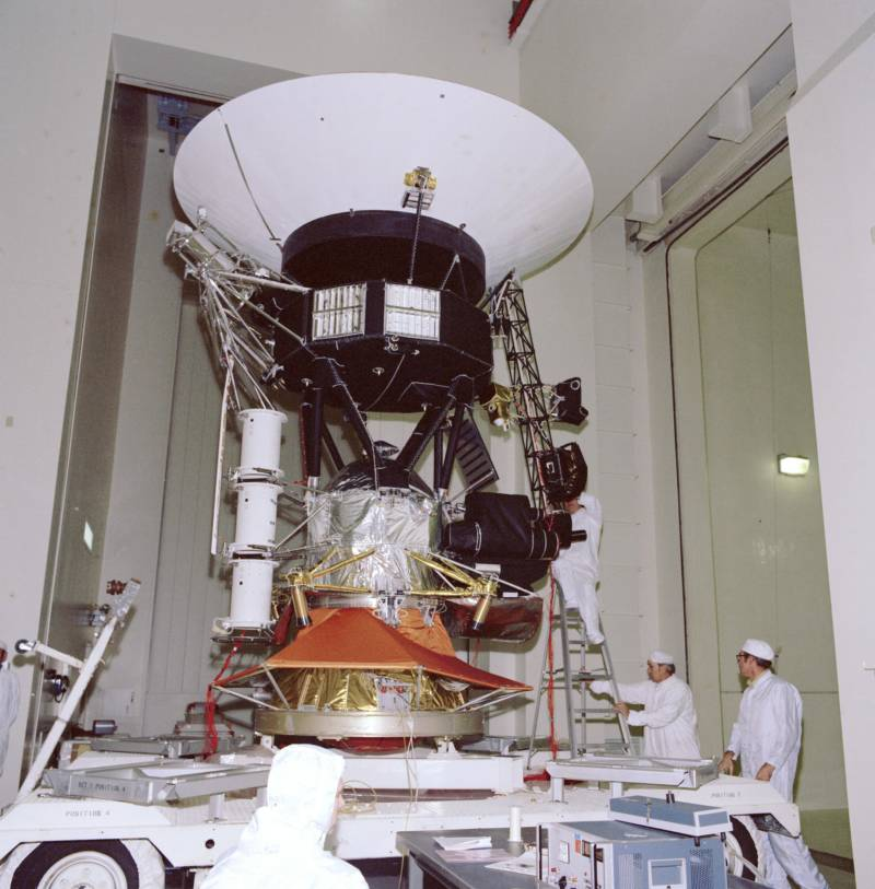 A Voyager spacecraft during tests in 1976.