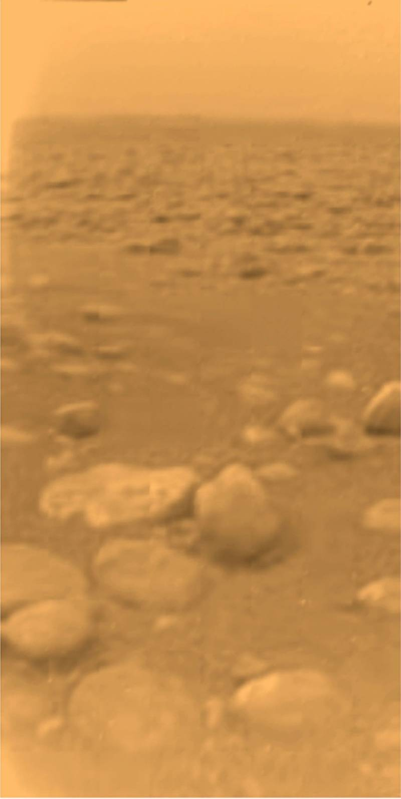 Image from the surface of Titan taken by the ESA Huygens probe in 2005.