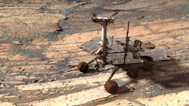 A digital recreation of NASA's Opportunity rover exploring Mars' Endurance Crater early in its mission.