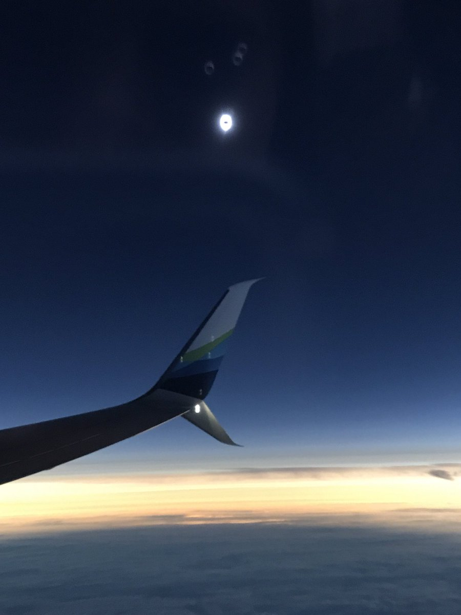 Alaska Airlines FLight 9671 flew out over the Pacific Ocean to intercept the path of the total solar eclipse.