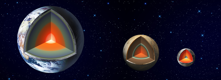 Illustration of possible models for the interiors of Earth, Mars, and the Moon. One model suggests that Mars' core may have a radius equal to half of the planet's.