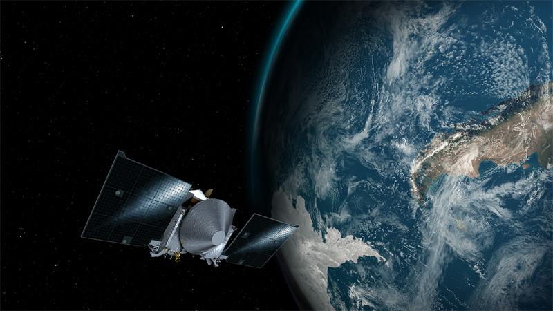 "Artist depiction of NASA's OSIRIS-REx spacecraft swinging by Earth on September 22nd for a gravitational ""slingshot"" maneuver sending it toward its destination, asteroid Bennu."