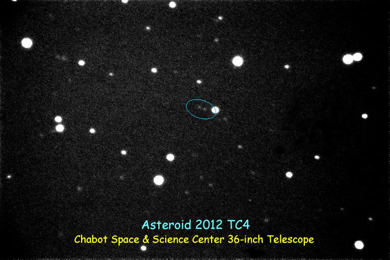 Image of Near Earth Asteroid 2012 TC4 captured by Chabot Space & Science Center's 36-inch telescope on October 8, 2017. The pair of faint dots at center are the asteroid at two slightly different times, when it was about a million miles from Earth.