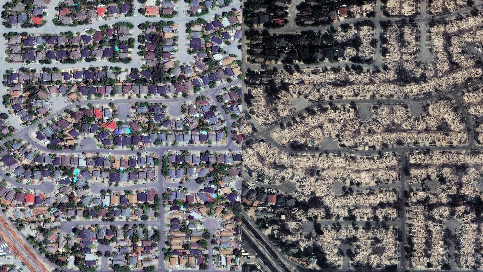 A neighborhood off Fountaingrove Parkway, northeast of Santa Rosa, California.  Overview News // DigitalGlobe 2017