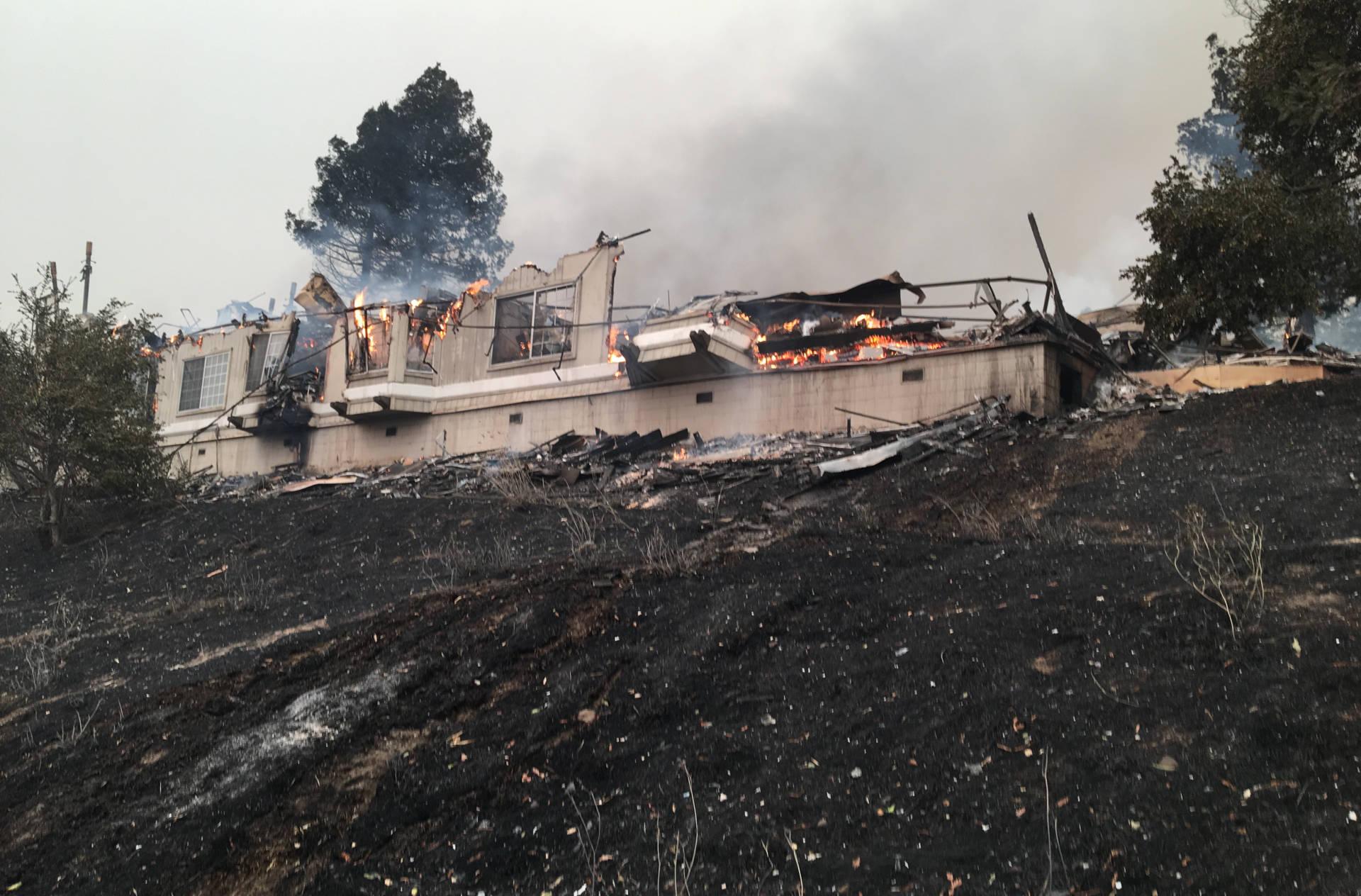 Fountaingrove neighborhood in Santa Rosa near the Hilton Hotel, which burned down. Lesley McClurg/KQED